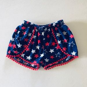 Girls Red White & Blue Star Shorts (Size 6)
